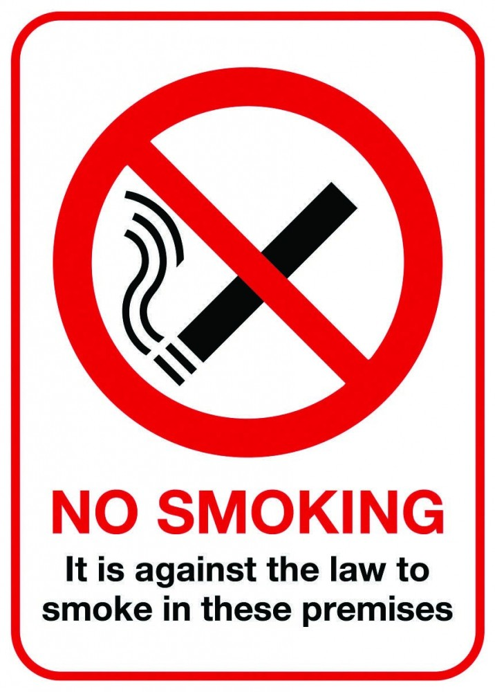 No Smoking (Against Law) PPE Sign